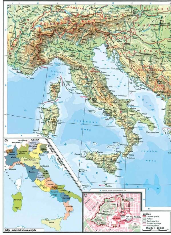 Geografska Karta Italije Karta